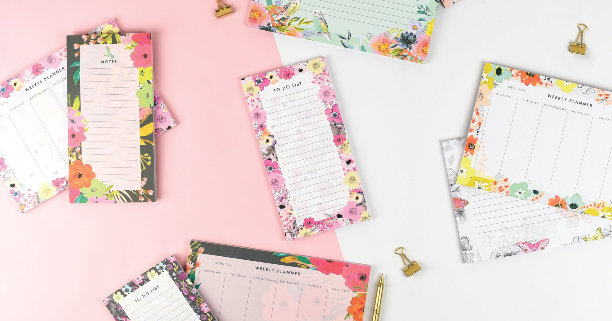 Weekly Planners and Notepads Range